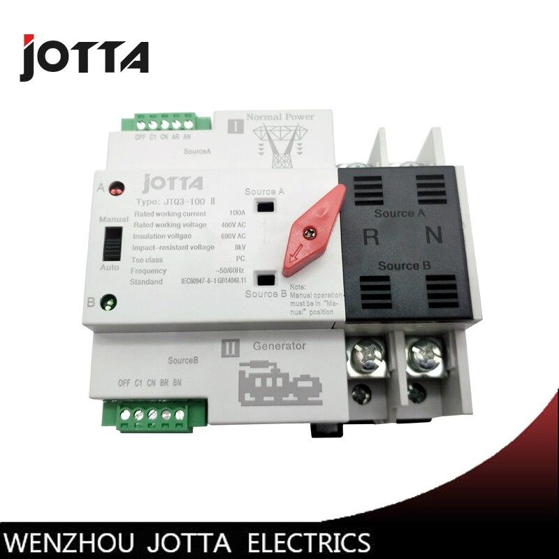 Jotta W2R-2P Mini ATS Automatique Commutateur De Transfert 100A 2 p Commutateurs Électriques Double Interrupteur D'alimentation Din Rail Type