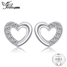 JewelryPalace Heart Love Round Zirconia Stud Oorbellen voor vrouwen Real 925 Sterling Silver Romantic Engagement Fine Jewelry