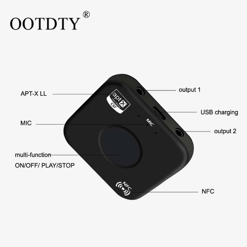 OOTDTY CSRA64215 Wireless Audio Receiver Adapter B7 PLUS Bluetooth 4.2 Receiver APT-X NFC CVC6.0 Built-in Microphone AUX Out