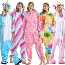 Jednorożec piżamy dla dorosłych Stitch Pikachu zwierząt Onesie zima bielizna nocna kobiety mężczyźni para flanelowa bielizna nocna ubrania domowe