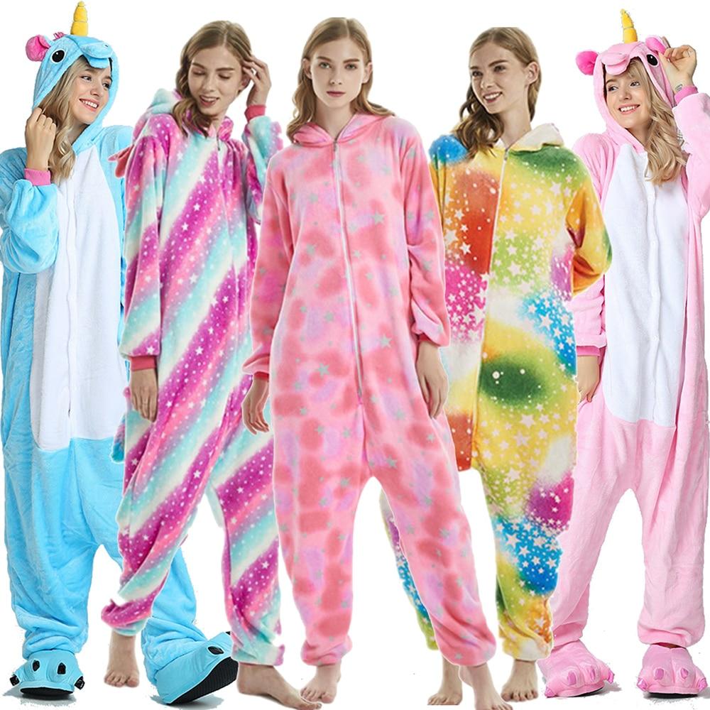 Unicorn Pajamas Adult Stitch Pikachu Animal Onesie Winter Sleepwear Women Men Couple Flannel Nightwear Home Clothes