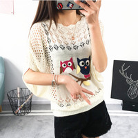Batwing Sleeve Air Conditioning Summer Pullover Crochet Cartoon Fashion Knitted Jumper Ladies 2018 Oversized Pullover Tops