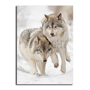 """5D DIY pintura de diamante """"Snow Two Wolves"""" taladro cuadrado completo/redondo 3D bordado punto de cruz Lobo Blanco mosaico Rhinestone Y3"""