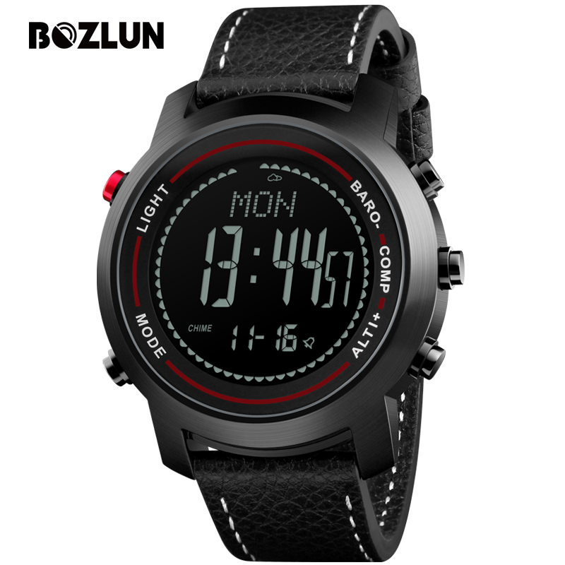 Bozlun Sport Watches Men Digital Wristwatches Chronograph Thermometer Compass Barometer Waterproof Watch Relogio Masculino MG03