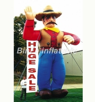 Customized 5mH cool giant inflatable cowboy with hat cartoon character mascot for advertising