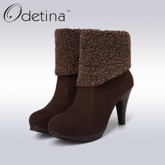 Mode femme Bottes hiver femme Bottes de neige en peluche cheville Flock Zip chaud Chaussures à talons hauts,noir,37