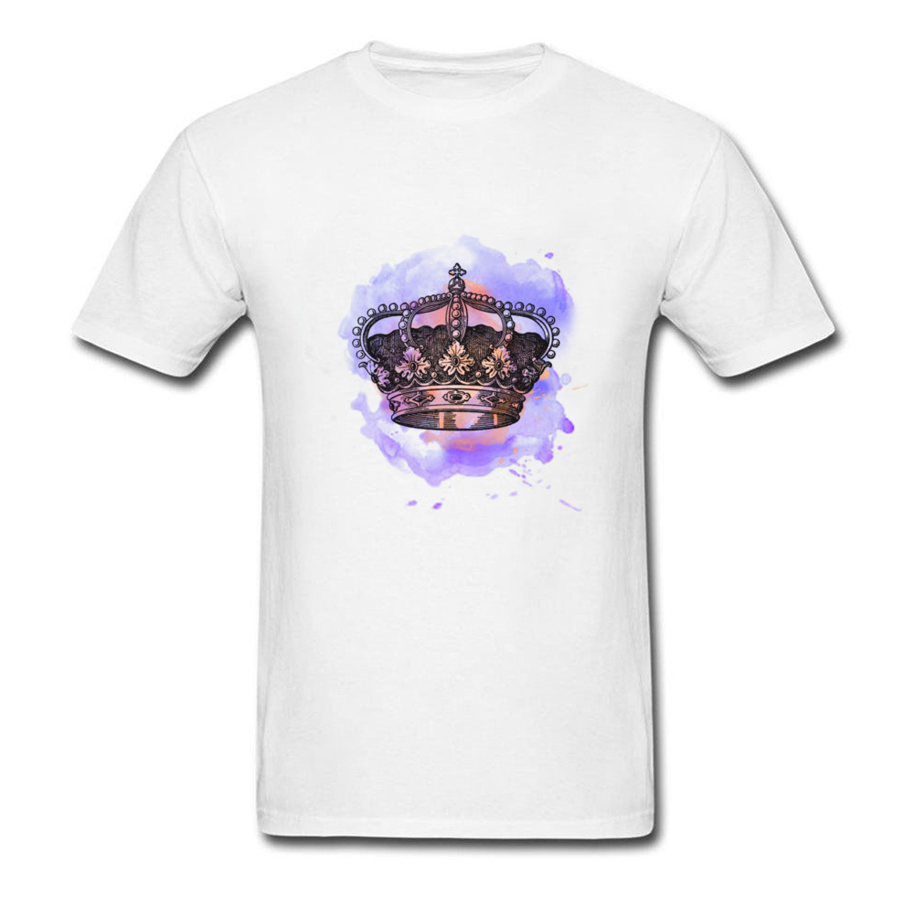 Printing Royal Crown Cool Short Sleeve Father Day Tops Shirts Slim Fit Crew Neck All Cotton Tee-Shirt Mens T Shirts