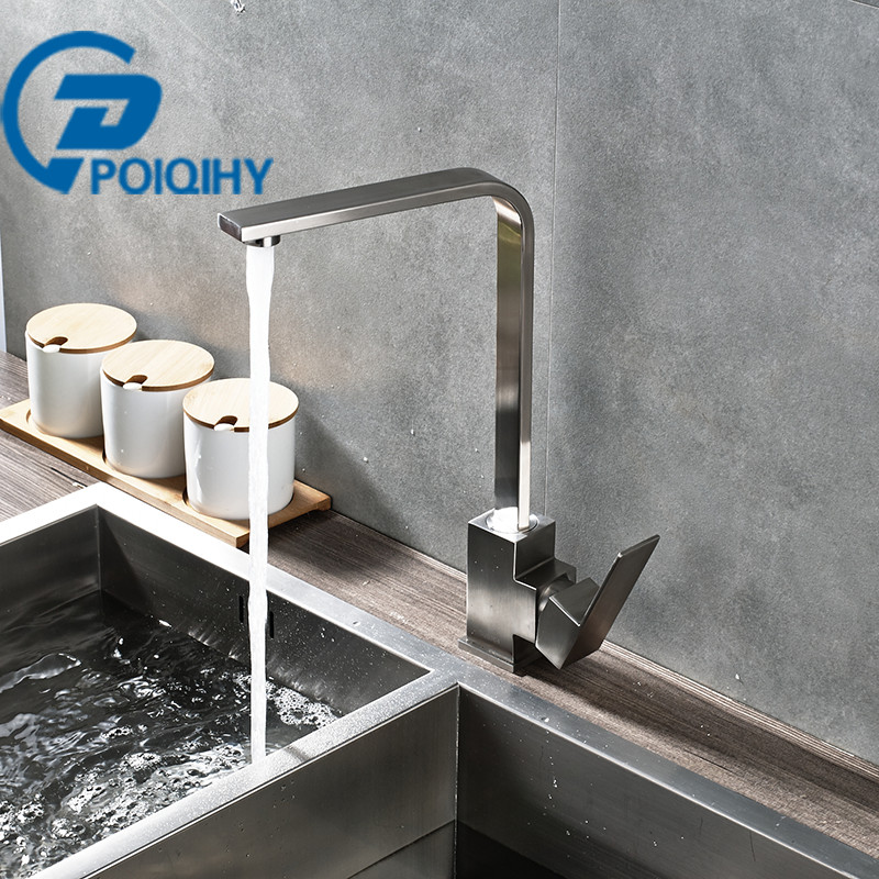 Brushed Nickel Kitchen Faucet Deck Mounted Hot&Cold Water Mixer Taps Stainless Steel Single Handle Kitchen Basin Taps deck mounted nickel brushed kitchen sink faucet 75cm height bathroom kitchen hot and cold water mixer taps