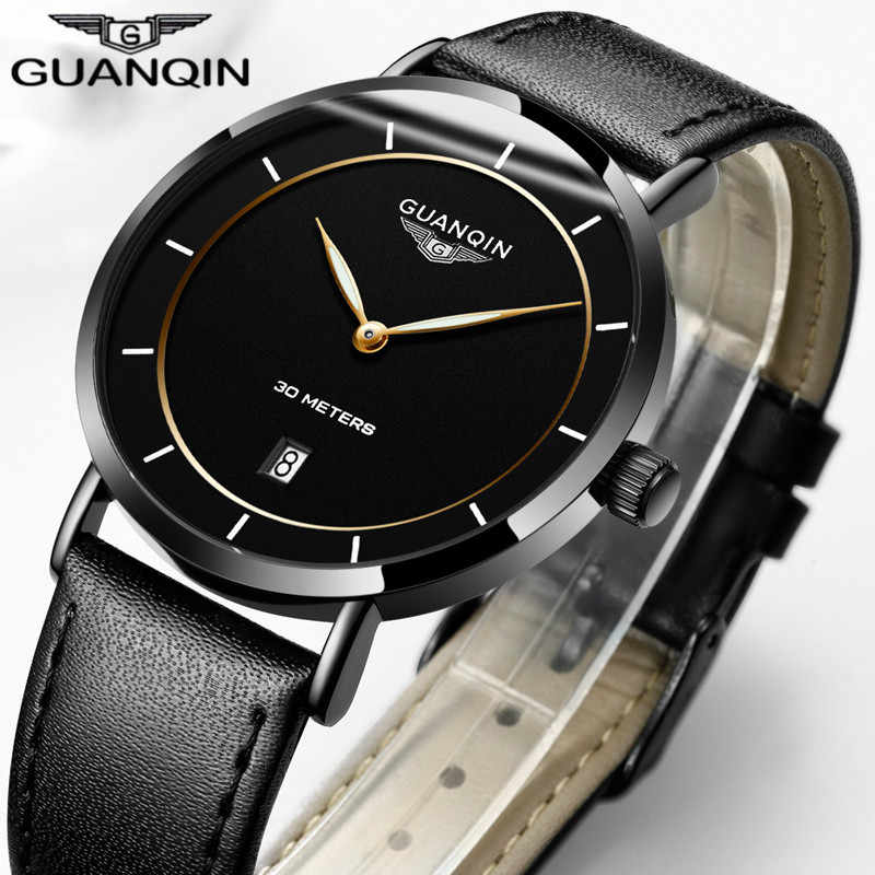 Mens Watches Top Brand Luxury GUANQIN Simple Design Ultra Thin Quartz-Watch Men Casual Leather Male Watches relogio masculino