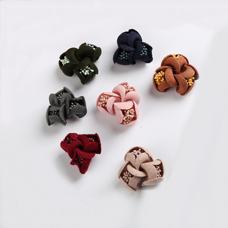 20 PCS Velvet Microfiber Cloth Flowers Connectors Charm Jewelry Accessories DIY Sewing Materials For Jewelry Making