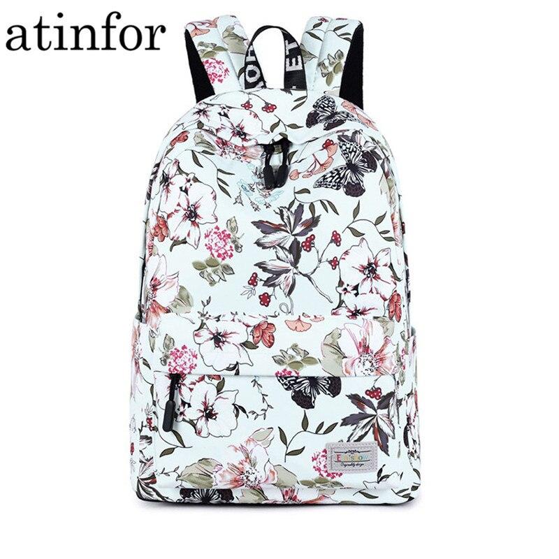 Cute Waterproof Canvas Women Backpack Butterfly Animal Pattern Printing Girls College Laptop Bookbag Female Daypacks