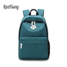 Купить с кэшбэком RanHuang 2017 Women and Men Canvas Backpack Fashion Backpack Women's Travel Bags School Bags For Teenage Girls A1015