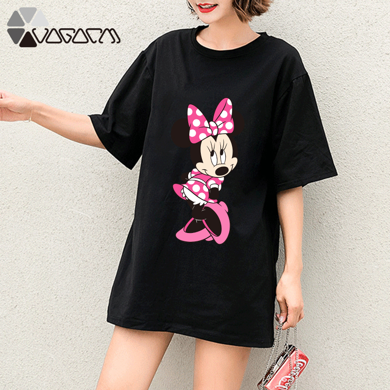 Summer Clothes For Women Minnie  Mouse Tops Tee Short Sleeve Black Fashion Loose Cartoon Plus Size T Shirts Casual Tshirts