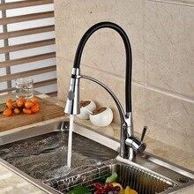 Черный стиль двойной опрыскиватель поворотный излив на бортике кухонная раковина кран смеситель