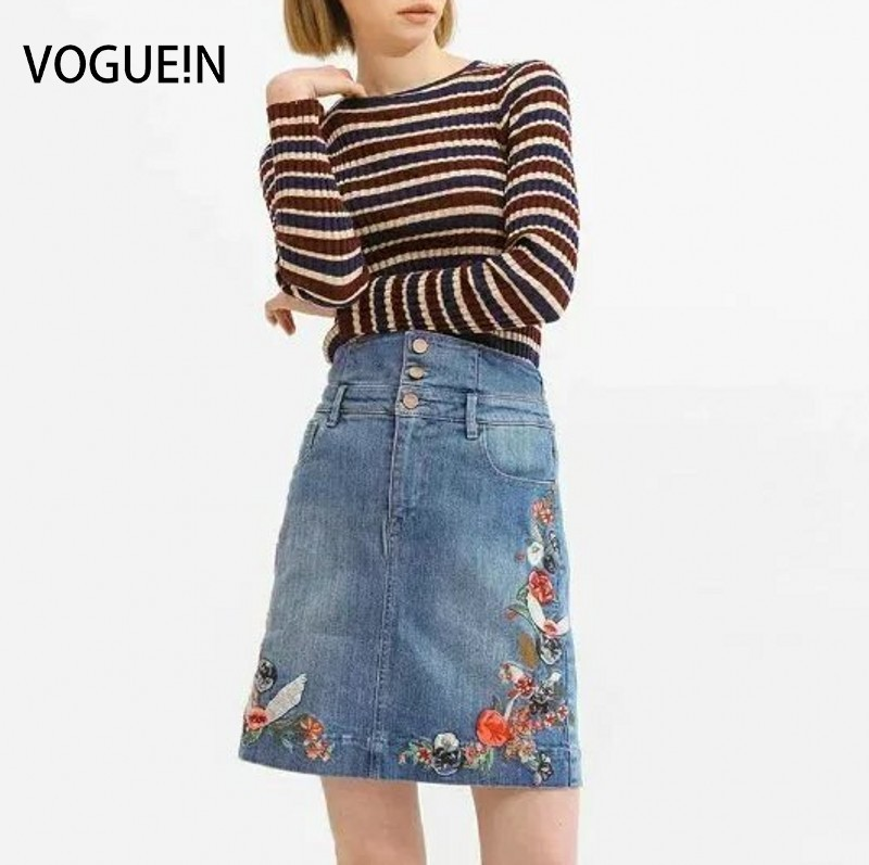VOGUE N New Womens Sexy Floral Premium Embroidered Denim Jeans Mini Skirt Size SML Wholesale