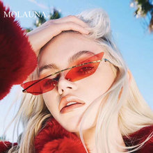 MOLAUNA Luxury Rimless Sunglasses Women Fashion Alloy Shades Sun Glasses Brand Designer Mirror Glasses Oculos Gafas De Sol UV400 molauna round sunglasses women brand designer retro sun glasses for women fashion mirror shades female glasses oculos de sol