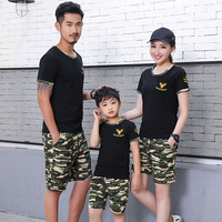 Mother Father Son Clothes Sets Summer Family Matching Short Sleeve Black T Shirts +Shorts Sets Family Look Clothing Suits