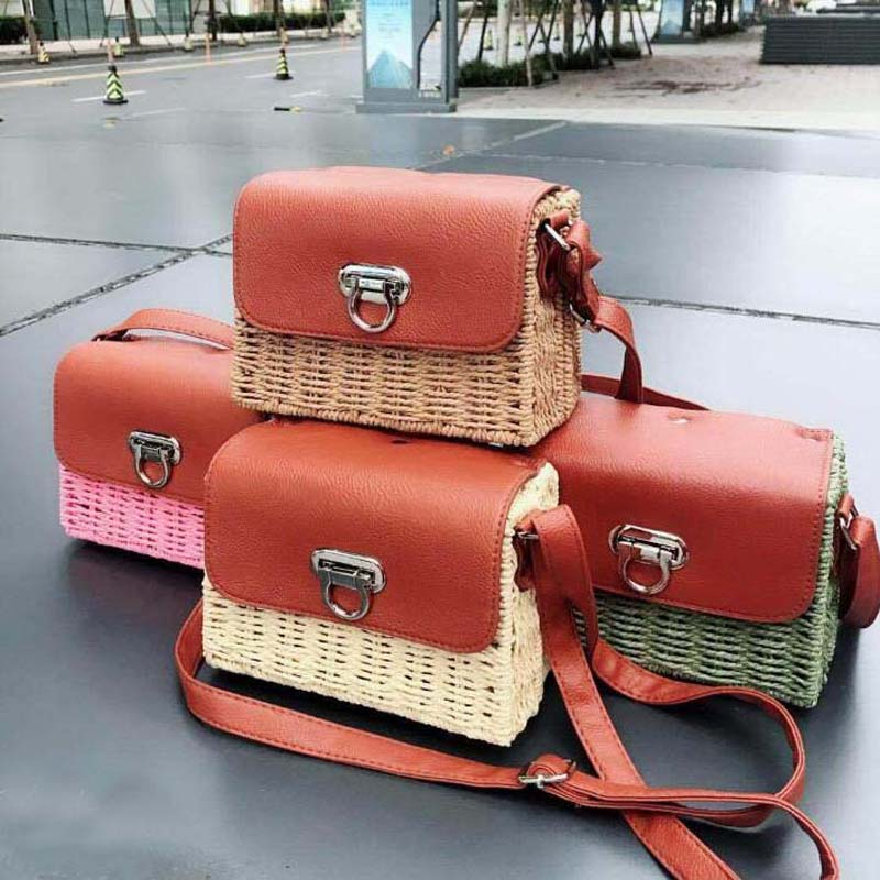 2019 summer New fashion Womens hand shoulder diagonal package luxury rattan leather stitching handmade woven