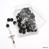 Christian Gift Natural Black Volcanic Lava Stone Regious Round Beads Crucifix Rosary