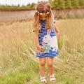 Девушки Платья Robe Mariage Филь 2017 Бренд Летом Платье Принцессы Детей Костюмы Печати Полосатый Детские Платья для Девочек Одежда