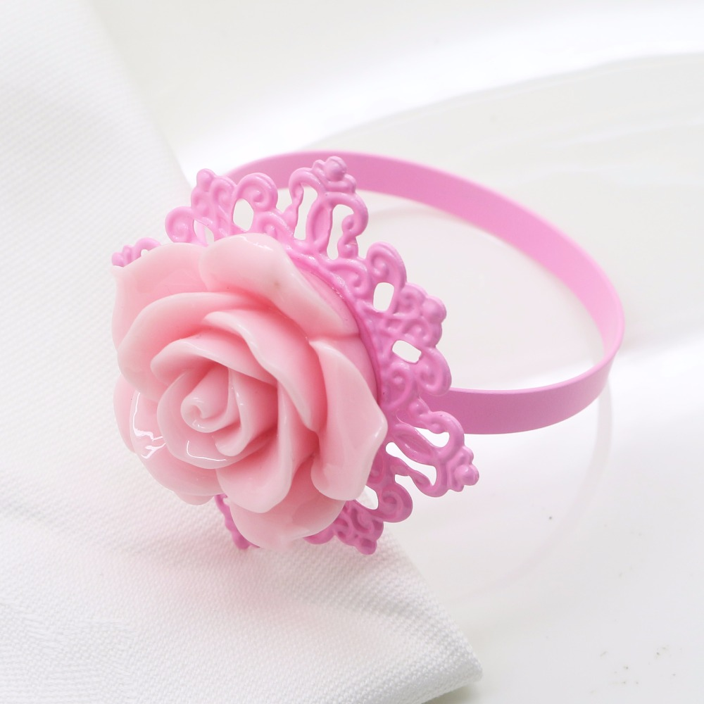 50pcs/lot Many colors Rose Flower Decor Gold Napkin Rings Holder ...