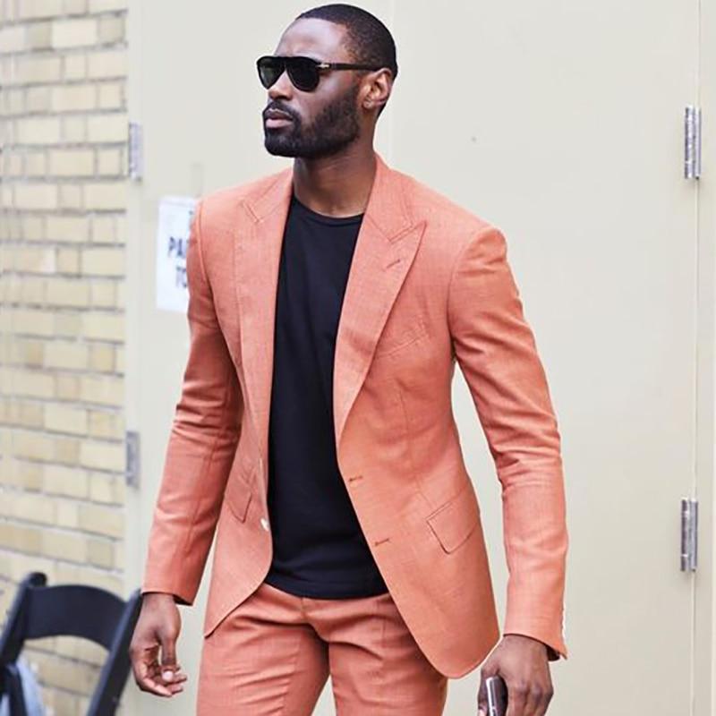 b75a390d2ba7d3 Mens Suits Slim Fit Two Pieces Linen Suits Men Beach Wedding Suits For Men  Custom Made Summer Linen Suit Tailored Groom Tuxedo