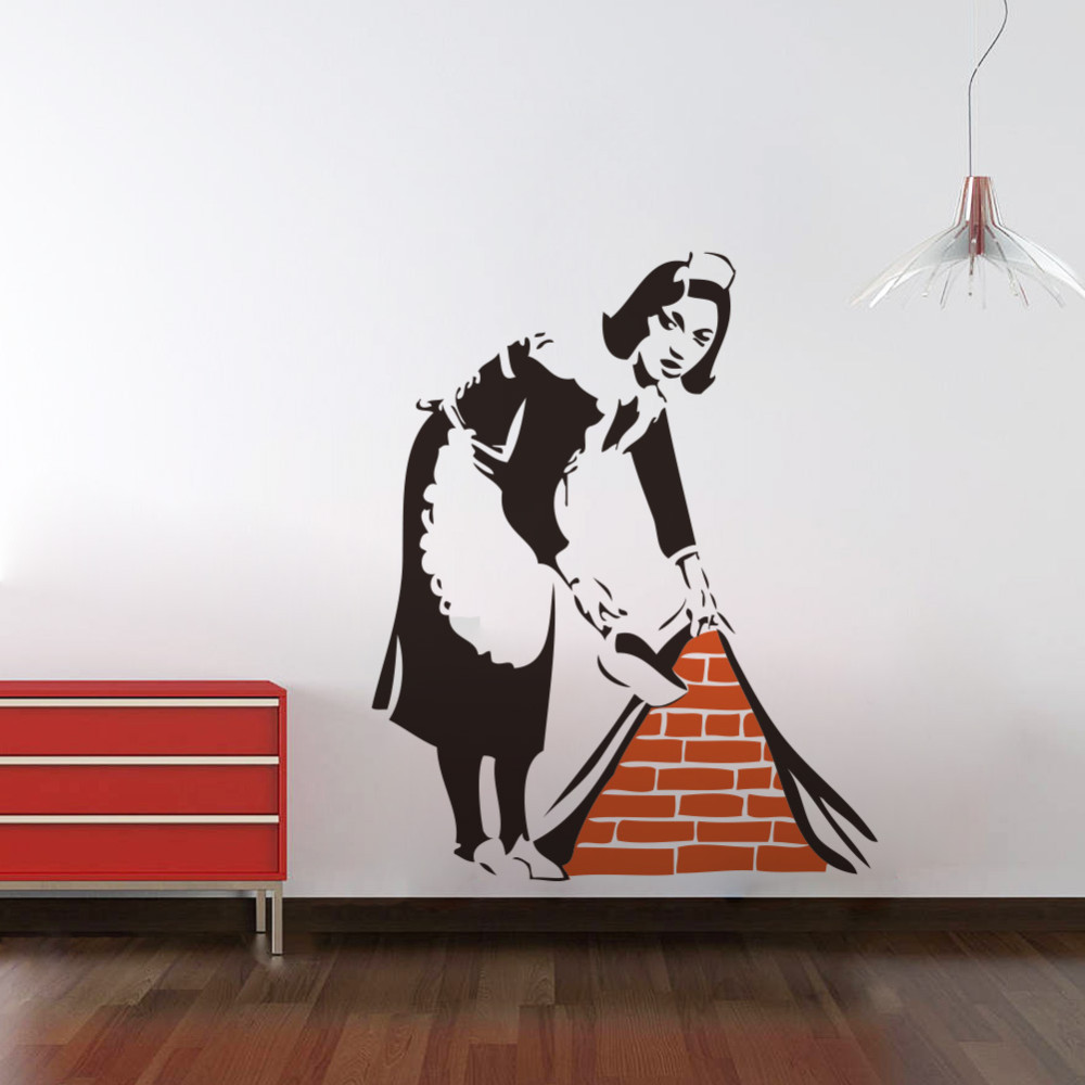 46 57 cm banksy maid en london wall 3d sticker home for Stickers 3d pared