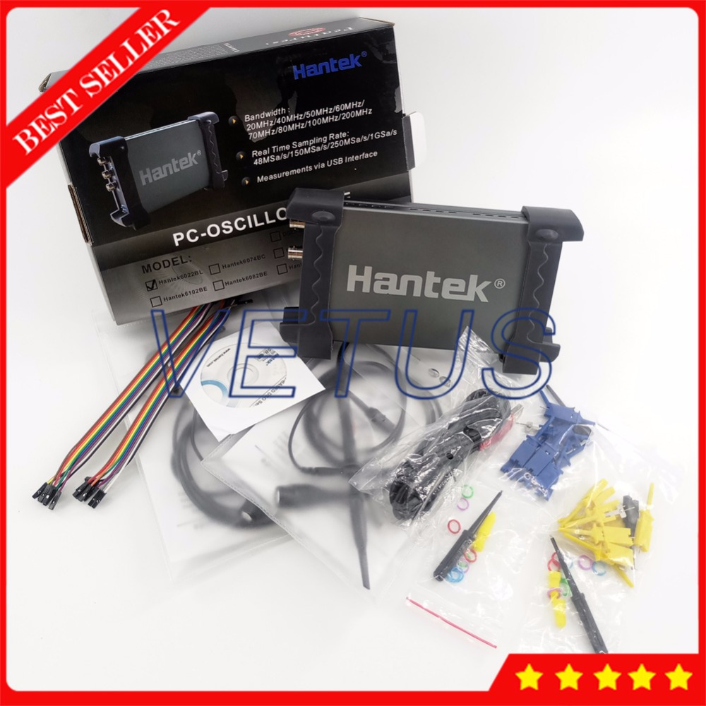 HANTEK6022BL PC Based Osciloscopio 20MHz 48MSa/s 2 Channels USB Digital Storage Oscilloscope with 16 Channels Logic Analyzer