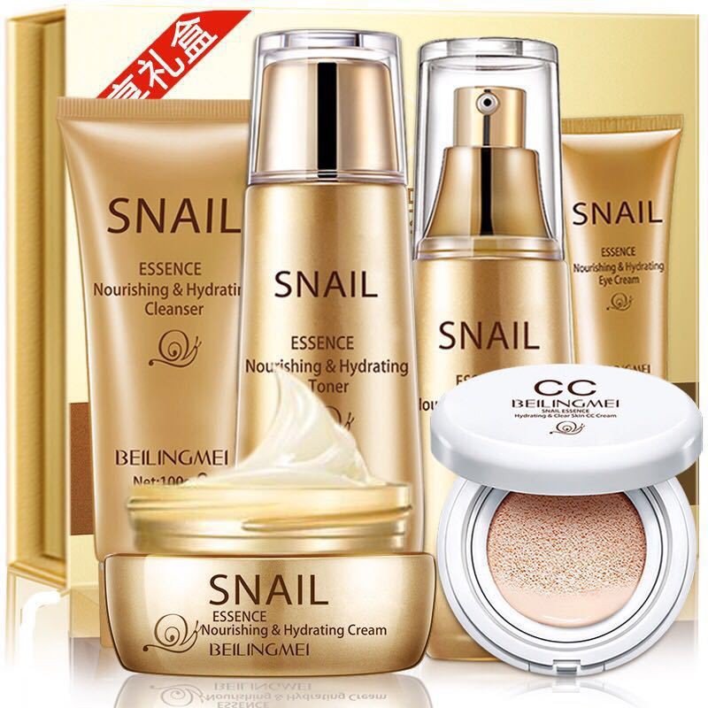 Snail Hydrating Six Pieces of Set Skin Care Nourishing Anti-aging Cleanser, Toner, Lotion, Eye Cream, Cream,Air cushion BB cream bicaoyuan black skirt firming gift set skin care nourishing moisturizing anti wrinkle cleanser toner lotion eye cream cream