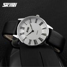 Skmei дамы водонепроницаемый женщина с кожаный браслет relogio masculino эркек коль saati montre femme мужчины часы часы