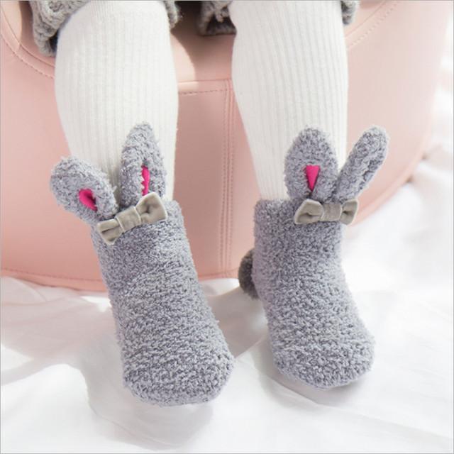 Bunny Coral Fleece Baby Socks