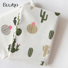 buulqo  Prints Cactus Cotton and Linen Fabric By Meter for DIY Sewing Upholstery home decor Material