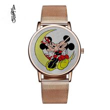 Ladies Fashion Women Minnie Mouse Quartz Watches Top Brand Watch Stainless Steel Mesh Belt Luxury Gold Relogio Feminino wwoor women watches top brand luxury stainless steel mesh band gold casual watch ladies business quartz watch relogio feminino