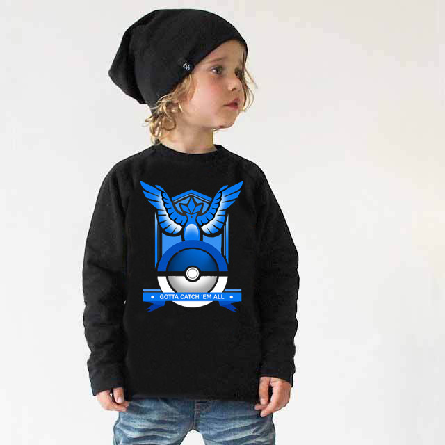 2016 new  pokemon go team shirt Cotton Tees Long Sleeve T shirt baby boy clothes kids clothes