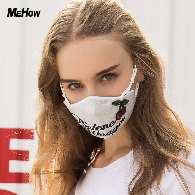 MeHow Silicon Rubber Mouth Mask Women Embroidery Cherry Pattern PM2.5 Abime Anti Haze smog Dust Mask Nose Filter mask Halloween 50pcs high quality dust fog haze oversized breathing valve loop tape anti dust face surgical masks