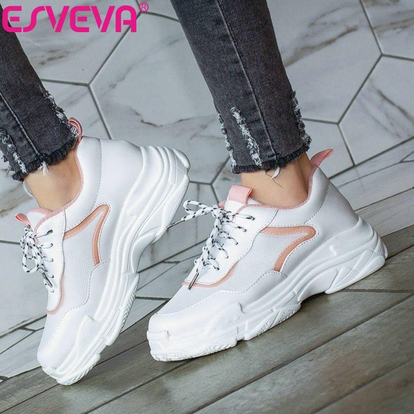 ESVEVA 2019 Women's Vulcanize Shoes PU Lace Up Platform Women Sneakers Fashion Casual Sneakers Women Round Toe Shoes Size 34 43
