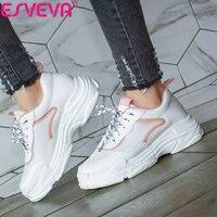 ESVEVA 2020 Women's Vulcanize Shoes PU Lace Up Platform Women Sneakers Fashion Casual Sneakers Women Round Toe Shoes Size 34 43