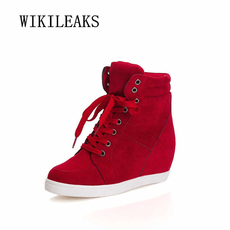 2019 Casual Shoes Women Height Increasing Platform Sneakers Wedges Shoes For Woman Lace-up High Top Genuine Suede Women Shoes