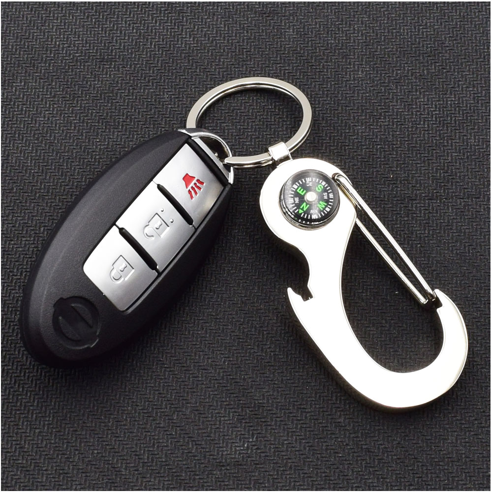 ATOBABI Galvanized Alloy Car Key Holder Real Compass Key Chain with Bottle Opener Function Car Key Ring Creative Gift Trinket