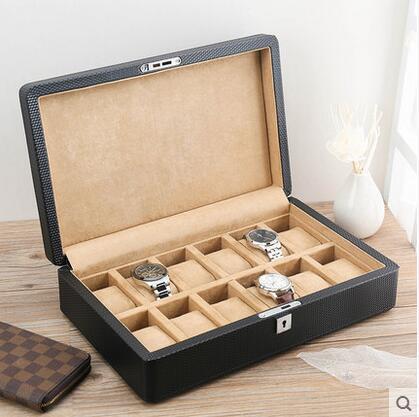 Boîtes de montre en cuir à 12 fentes en bois structrue pour montres boîte de montre en bois pour organisateur de bijoux SBH016A