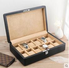 fashion wooden structrue 12 slot  leather watch boxes wood cases for watches wooden watch box for jewelry organizer SBH016
