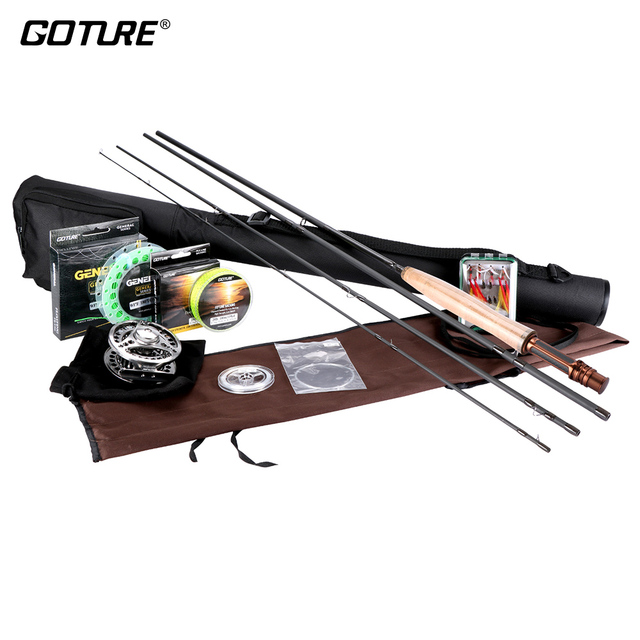 Cheap Goture Fly Fishing Reel Rod Set with Fly Line Lures Bag Full Kit 5/6 7/8 Fly Reel Rod Combo Fishing Accessories