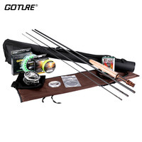 Goture Fly Fishing Reel Rod Set with Fly Line Lures Bag Full Kit 5/6 7/8 Fly Reel Rod Combo Fishing Accessories
