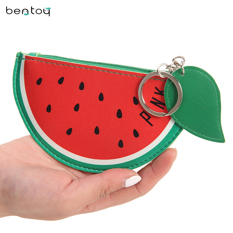 Cute Womens Wallets And Purses Fruit Coin Purse For Childern Leather Change Purse Pineapple Watermelon Bag Small Money Pouch pacgoth creative pvc waterproof cute carton candy color purse dessert donuts summer sweet hearts zipper coin purses money bag