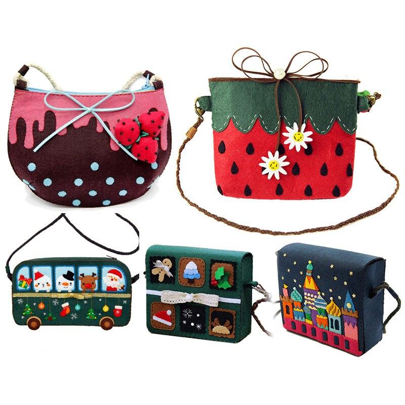 Felt DIY 5 Styles Shoulder Bag Cute Cloth Women Bag Handmade for Childrens Day Gift Felt Fabric DIY Package