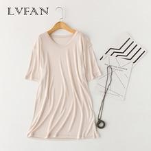 LVFAN мужские натуральный шелк топы для сна Мужская пижама короткий рукав сплошной свободный размера плюс трикотажная кофточка