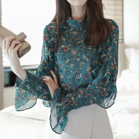 2018 New Embroidery Lace Chiffon Blouse Shirt Women Tops Flowers Casual Long Sleeve Ladies Top Plus