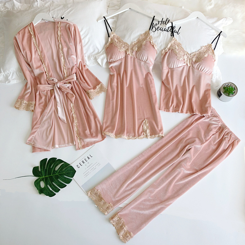 Pyjamas Women 4 Piece Velvet Lace Pajama Sets Ladies Sexy Pants Bath Robe Set Night Wear Women Pink Sexy Lingerie Bridesmaid