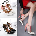 NEW 2017 Spring Autumn Ankle Strap Stilettos Pointed Toe Crystal Women's Shoes with Heels Ladies Wedding Shoes Party Pumps Pink