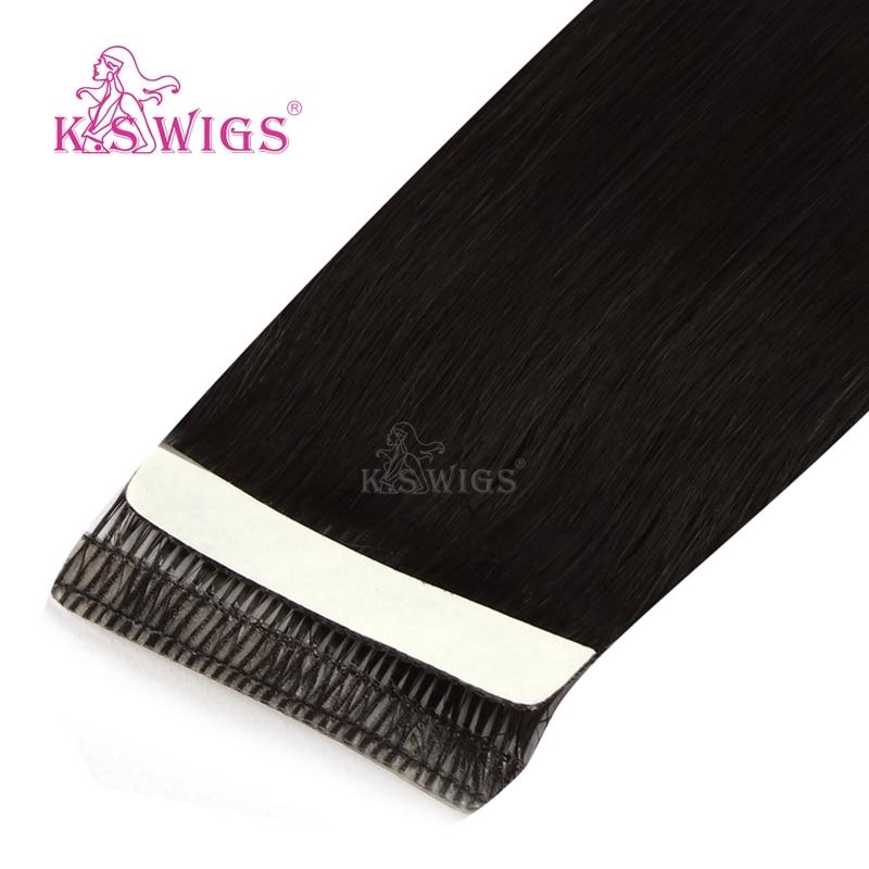 K.S парики Remy лента в человеческих волос любовь линия бесшовные волосы для наращивания кожи 16 ''20'' 24''